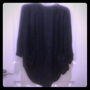 Trouve Tops - Trouve 100% Silk Black Open Cardigan Blouse Sz XS