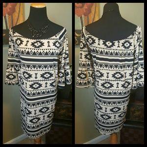 Aztec Print Off the Shoulder Dress