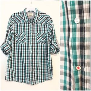 Paper Denim & Cloth Men's Button Up Shirt Green