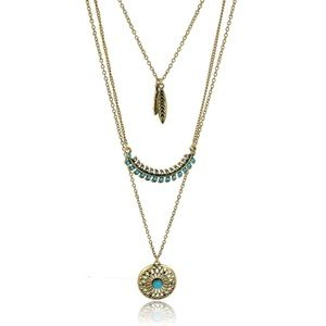New 3 Layered Feather Turquoise Beaded Necklace