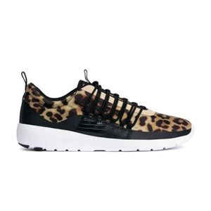 Leopard canvas trainers