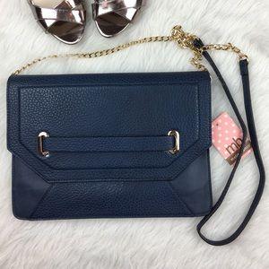 Blue faux leather envelope flap crossbody purse