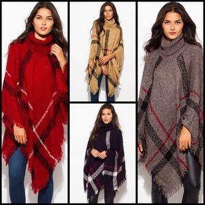 Sweaters - Turtleneck Knobby Knit Poncho