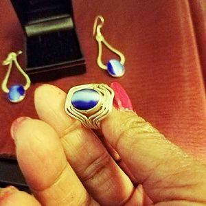 Blue Sapphire earrings and ring