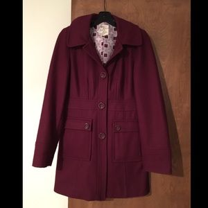 Burgundy Tulle Winter Peacoat