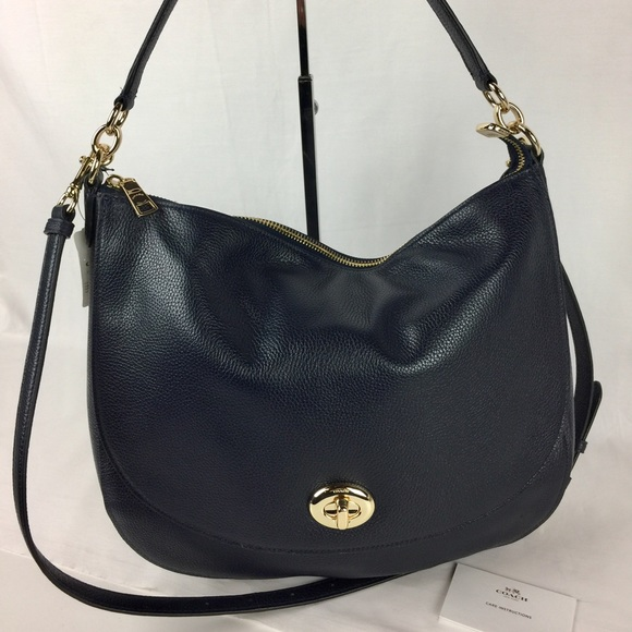 cfeed3023fa5 Coach Turnlock Hobo in Navy Pebble Leather