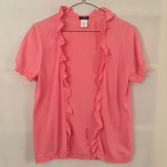 88% off J. Crew Sweaters - J. Crew pink short sleeve ruffle ...