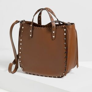 Zara Studded Leather Tote