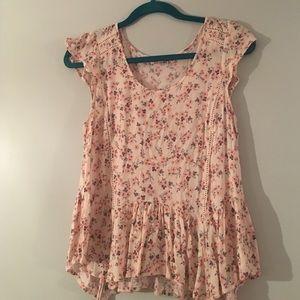 Katie K Tops - Flutter sleeve floral blouse