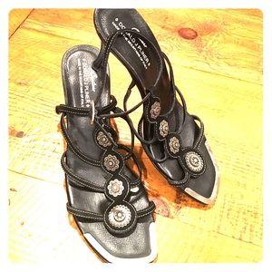 Donald J. Pliner Shoes - Donald J. Pliner Black Suede Strappy Sandal
