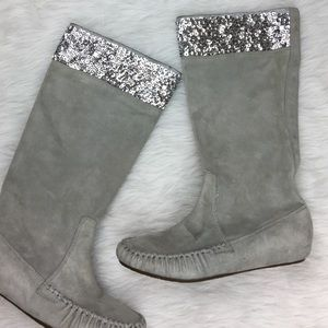 TWISTED HEART Shoes - Gray suede silver sequin glitter winter boots