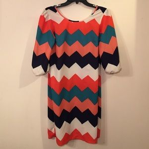 Silk Multi Color Rushed Sleeve Dress