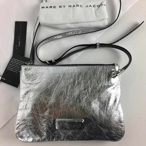 31b804c3fa22 Marc Jacobs Double Percy Silver Crossbody Bag