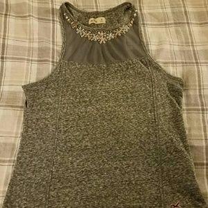 Shurt, rhinestones on chest, gray