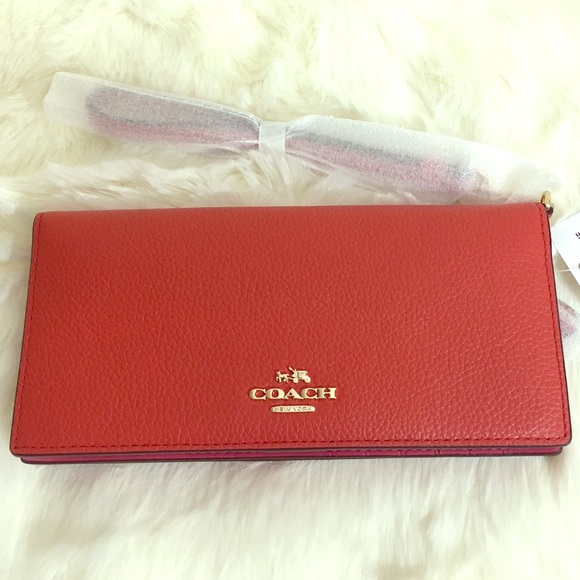 69e048669596a COACH Slim Wallet Wristlet in Colorblock Leather