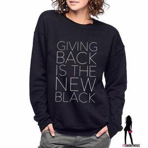 Half United Tops - Giving Back Unisex Sweatshirt in Black