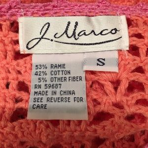 J Marco Sweaters - J Marco Orange and Pink Crocheted Open Cardigan