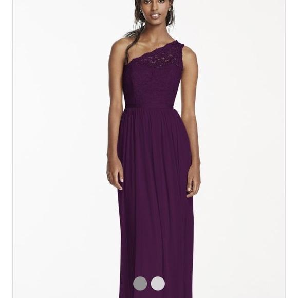 David\'s Bridal Dresses | Davids Bridal Plum F17063 Long Bridesmaid ...