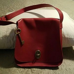 Fossil Red Leather Shoulder Bag