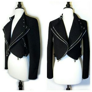 Zara Jackets & Blazers - Zara Black Cropped Jacket W/Zippers