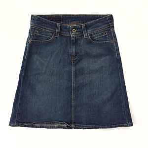 Levi's dark denim a-line mid-length skirt UK style