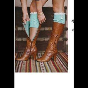 HOST PICK!!Aqua blue Boot cuffs w/ruffle top
