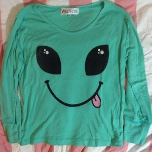 Wildfox alien long sleeve shirt XS. Preowned