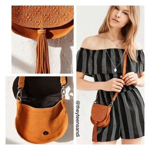 Urban Outfitters Ecote Leanne Tan Suede Saddle Bag
