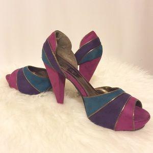 Shoes - Fuchsia Teal & Purple Striped Platforms