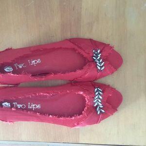 Two Lips  Shoes - Two Lips Silk Open Toe Ballet Flats