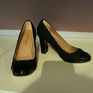 Black wool and patent pumps