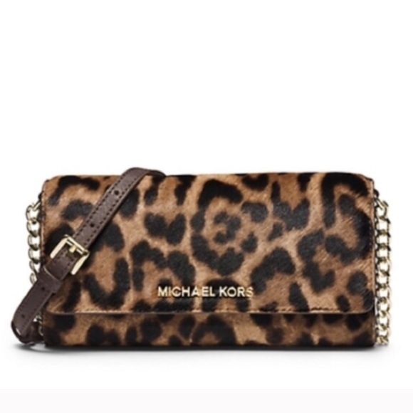 8ae67570572d Michael Kors Jet Set Leopard Calfhair Cross Body. M_581221455a49d0613600674a