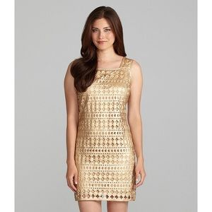 Chelsea & Violet Gold Laser Cut Dress