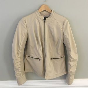 BAGATELLE FAUX-LEATHER CREAM JACKET - Size S