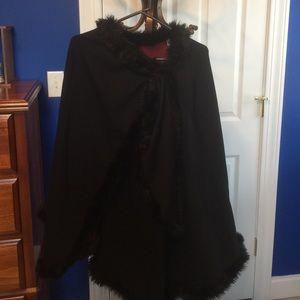 NWOT Randolph Duke cape with fax fur trim.