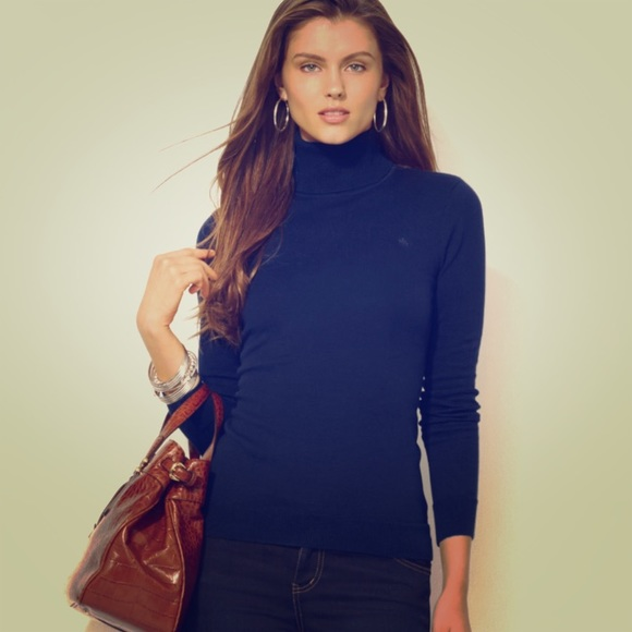 Sag Harbor - SAG HARBOR · PETITE Navy Ribbed Turtleneck Sweater ...