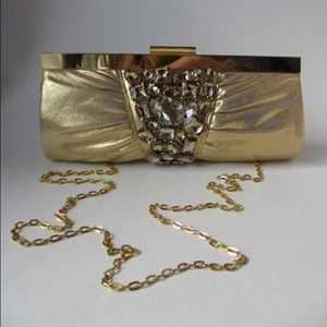 Handbags - Swarovski embellished gold evening Clutch purse ✨