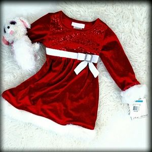 Bonnie Baby Other - NWT Bonnie Jean 24M Holiday Christmas Dress Red