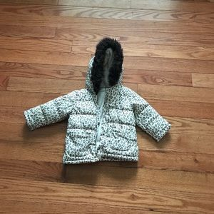 Leopard print baby puffy jacket