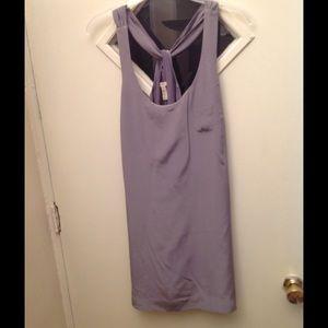 100% grey silk dress