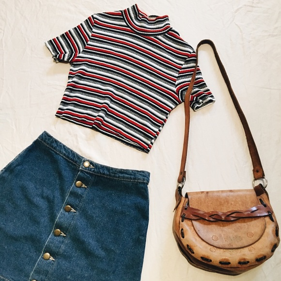 551097f3133 Vintage Tops - 90 s Vintage Striped Crop Top