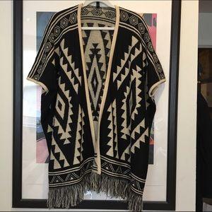 Full Tilt Sweaters - Aztec print poncho/cardigan