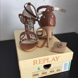 Replay Shoes - REPLAY high heel sandals, brown leather size 8 US