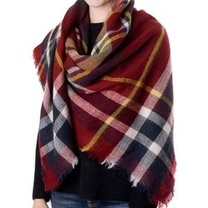Plaid blanket scarf, red Christmas scarf,gift idea