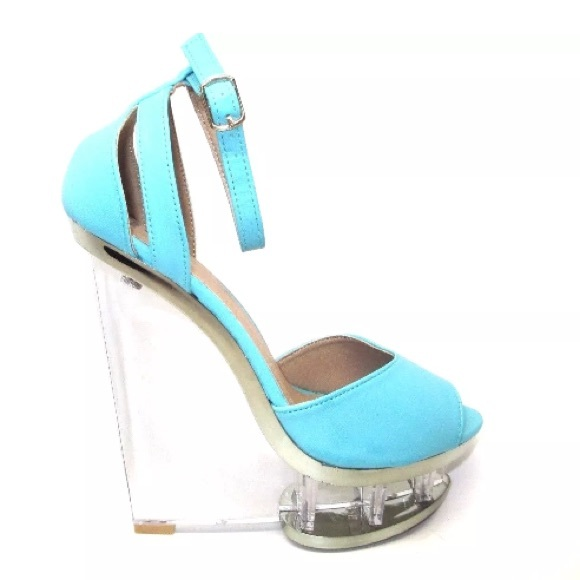 be50a7b6be FRH Shoes | New Turquoise Clear Wedge Lucite Ankle Strap Heels ...