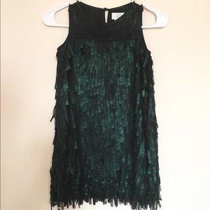 Us Angels Other - Forest Green Formal Fringe Dress