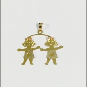 Jewelry - 14k Tri Color Gold Two Baby Girls Charm Pendant
