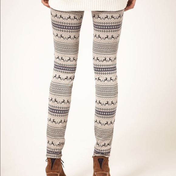 100% off Free People Pants - FINAL Free People Fair Isle Reindeer ...