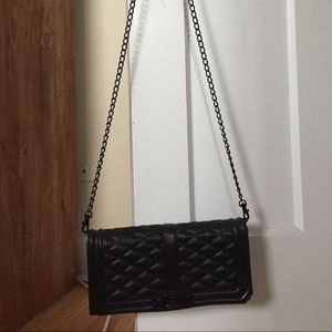 Rebecca Minkoff Black Leather Quilted Love Clutch