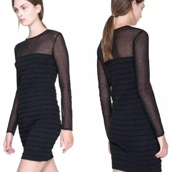 Zara Dresses Black Sheer Detail Bodycon Mesh Top Stripe Poshmark
